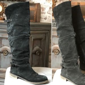 Suede black knee high boots